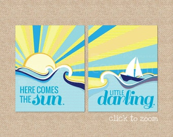 Here comes the Sun ... Beatles Lyric Giclee Art Prints for Nursery / Child's Room // Custom Match colors to your room // N-G32-2PS AA1