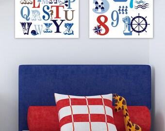 Ocean Nautical ABC and 123 Typography Giclée Art Prints // 2 Print Set // N-G47-2PS AA1