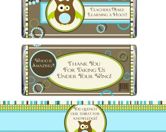 Teacher Appreciation Candy Bar Wrapper and Water Bottle Label
