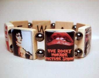 ROCKY Horror Picture Show Jewelry / Scrabble Tiles Spell TIME WARP Inside / Dr. Frank-N-Furter / Handmade Bracelet