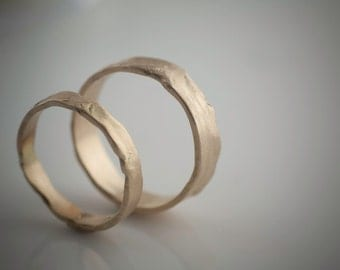 Melted Wedding Band Recycled Hand Forged 14k Yellow Gold Ring Band Eco Friendly Metal