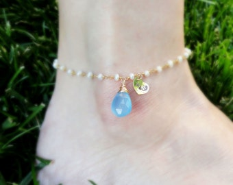 Something Blue ANKLET with Bride & Groom initials, Couples initials,Personalized ANKLE bracelet, Wedding jewelry for the bride