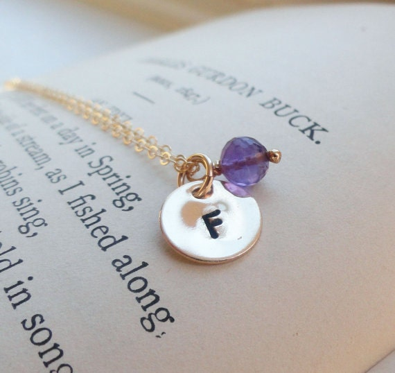 Small Gold Initial Necklace, initial charm & birthstone, monogram necklace, Bridesmaid gift, Mothers necklace