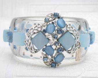 Silver and Blue Large Bangle Bracelet