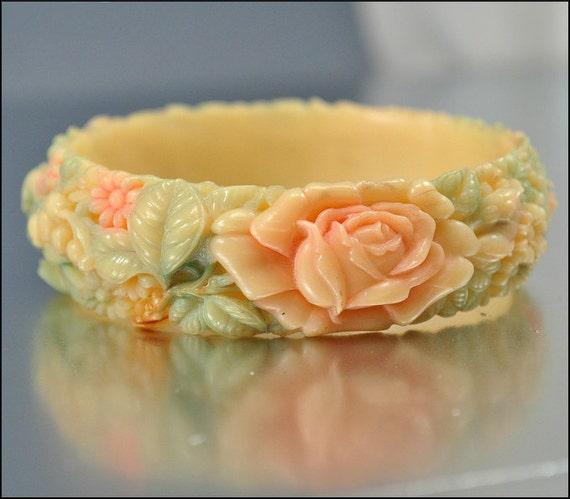 Celluloid Art Deco Bracelet Hand Painted Bangle Art Deco Jewelry Flower Vintage 1930s Jewelry