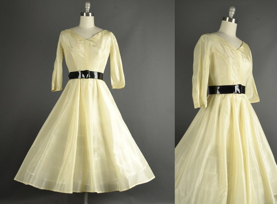 Vintage 1950s Dress, 50s Dress full skirt silk organdy sheer tea length ivory wedding party dress