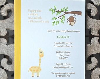 Jungle Invitations . Baby Shower Invitations . First Birthday Invitations . Monkey Invitations - Jungle Friends