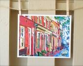 Philadelphia Fine Art Print, Elfreth's Alleys, Red Cityscape Painting, Gwen Meyerson