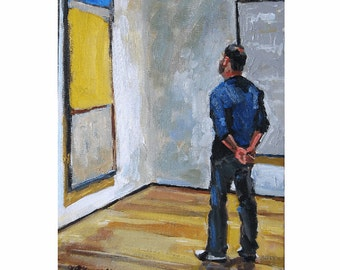 "MOMA Fine Art Print ""Man Looking At Rothko"" New York Museum Painting by Gwen Meyerson"