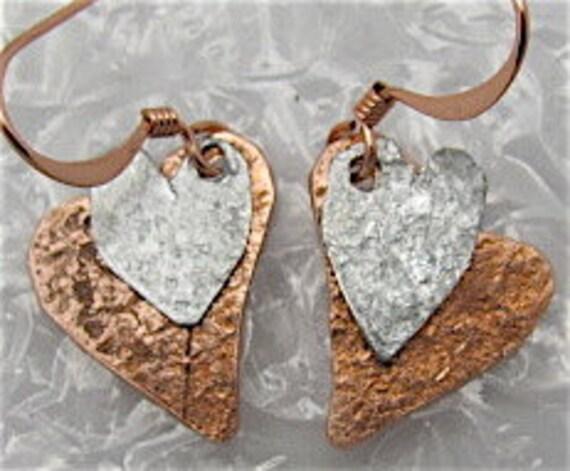 Copper Heart Earrings, Silver Tin heart earrings.