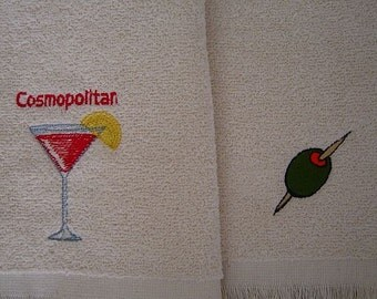 COSMOPOLITAN drink or OLIVE Machine Embroidered Cream Fingertip Terry Cloth Towel