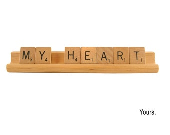 Romantic Card - My Heart-Yours, Scrabble Card, Sweetheart Valentine, Spouse Birthday, Anniversary,  Wedding