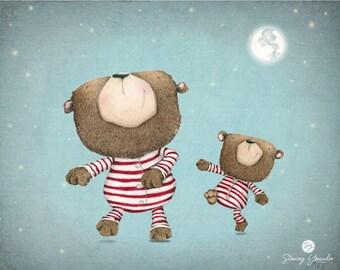 "art print - illustration -bear - brown bear - red stripes -pajamas -moon -stars -dance - ""Dance by the Light of the Moon"""