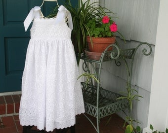 Handmade Flower girl,baptism, special occasion dress in white..fully lined..  Available in sizes 1T to size 10