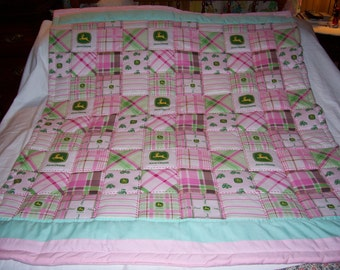 Handmade Baby John Deere Girl's Madras Pink And  Plaid Cotton Baby/Toddler Quilt-NEW 2015