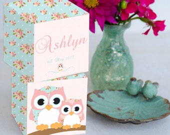 Shabby Owl Personalized  Large Wooden Blocks 2 3/4 in