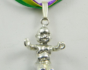 King Cake Baby in Sterling Silver  Happy Mardi Gras