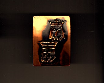 Mid Century King Queen Pin Copper Jewelry MCM