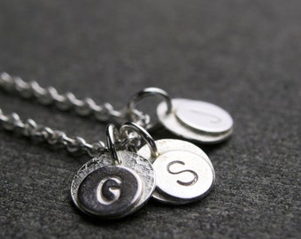 Tiny mother's initial hammered pendant family tree necklace sterling silver