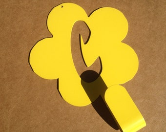 Metal Coat / Hat Hanger with Single Hook with your initial or Number inside the Flower (W15)