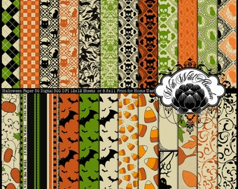 Halloween Papers Set of 30  Black, Green, Purple, Orange and Cream    8.5 x 11 or12x12  Set 01