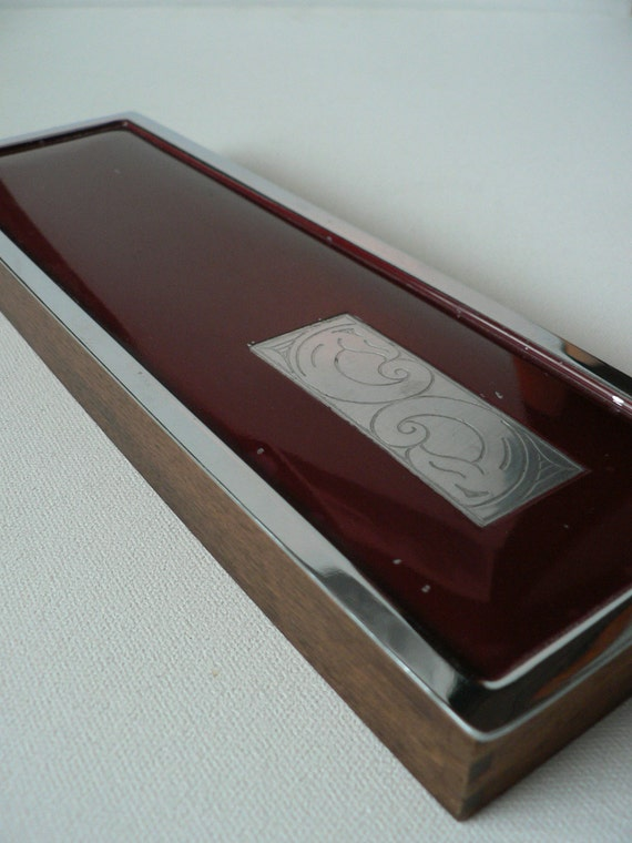 Art deco enamel box Manning Bowman USA/ vintage 1930s wood enamel storage box