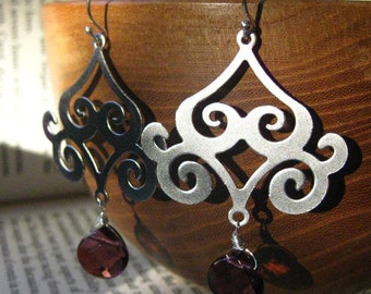 Pagoda Earrings . Sterling Silver and Plum Glass