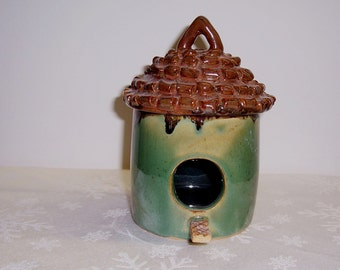Ceramic Bird House - Thatched Roof - Brown Green - Indoor - Outdoor Stoneware Ceramics   Pottery