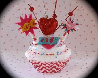 "Fake Cupcake Comic Book/ Super Hero Inspired ""I Luv U Cupcake"" w/ Red/White Chevron Cupcake Liner Fab V-Day Gift Comic Book Valentine Decor"