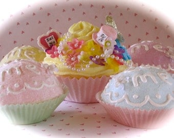 """Alice In Wonderland Inspired """"Mad Hatter's Tea Party Decor Package"""" (1) Jumbo Yellow Fake Cupcake (4)Eat Me Cupcakes Fab Wedding/Party Decor"""