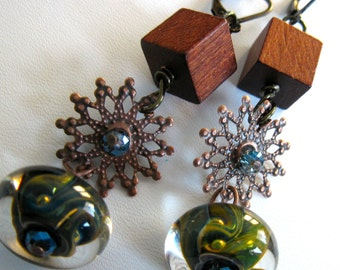 Just Reduced. Long Earrings. WELLA. antique copper. wood. and artisan lamp work glass bead. long drop earrings