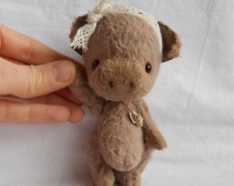 Artist bear little pig   by Sylvie Touzard MADE TO ORDER