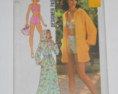 Vintage 70s Hooded Cover Up and Bathing Suit Pattern Simplicity 6969 Size 12 Bust 34 UNCUT