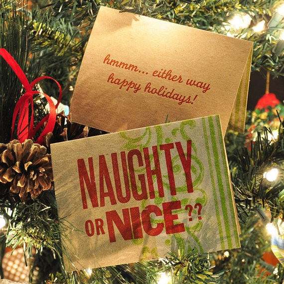 Naughty or Nice Letterpress Holiday Card 5-Pack