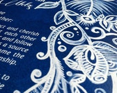 Blue Ketubah - Not-So-Traditional Design for a Traditional Jewish Marrigage Contract