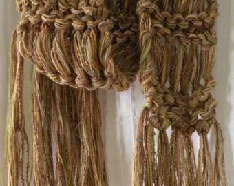 Hand knit scarf, women's men's light brown tan beige gold green multicolor blend, rustic warm winter crochet fashion teen boy i987