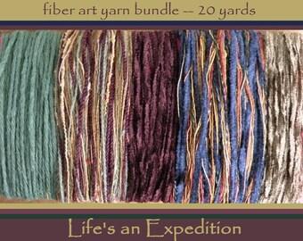 Yarn samples for knitting scrapbooking, primitive rustic texture plum green tan, fiber art bundle variety pack assortment wool cotton i986