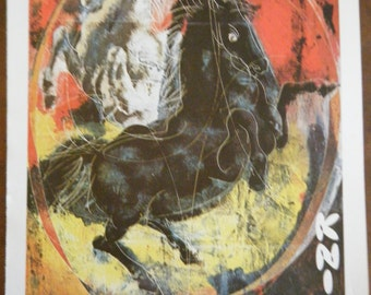 Vintage Circus Poster - Kinie Circus Black and White Horses Vintage Poster Size Book Plate