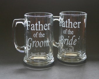 One Custom Etched Beer Mug Wedding Father of the Bride Groom Bestman Groomsmen