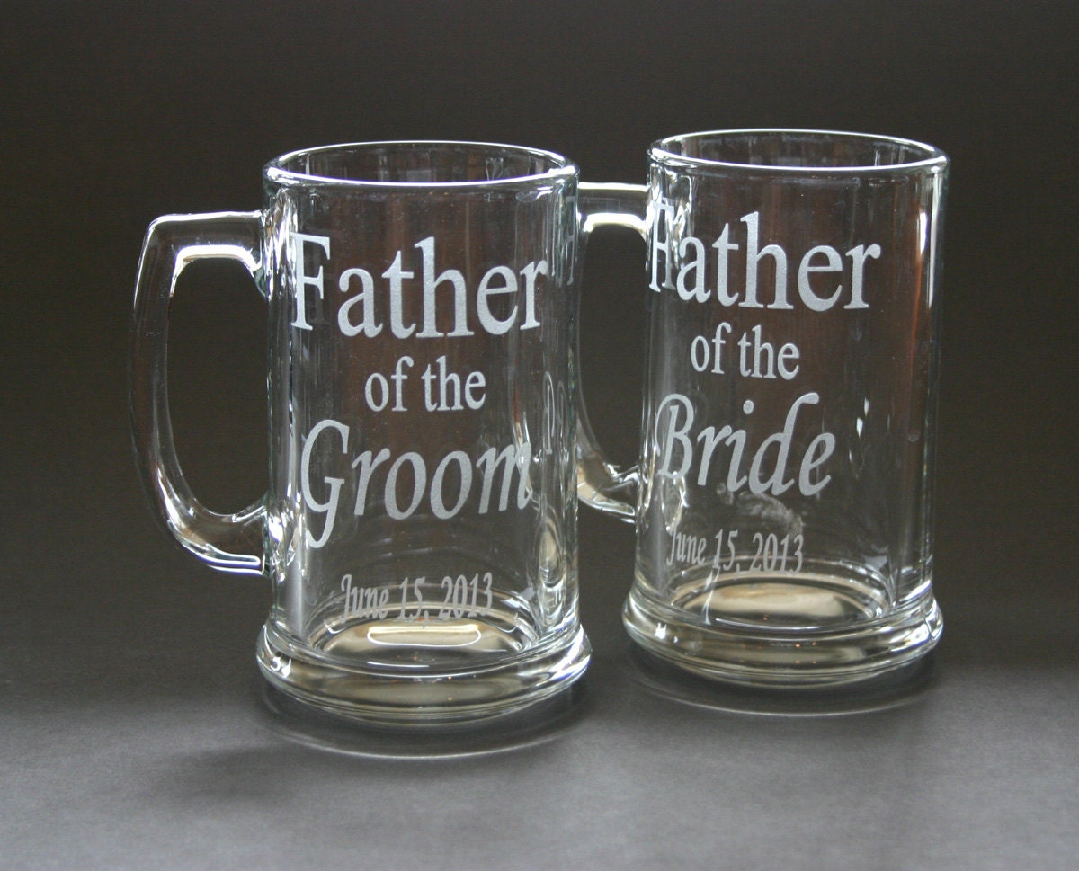 Wedding Gift Beer Mugs : One Custom Etched Beer Mug Wedding Father of the Bride Groom