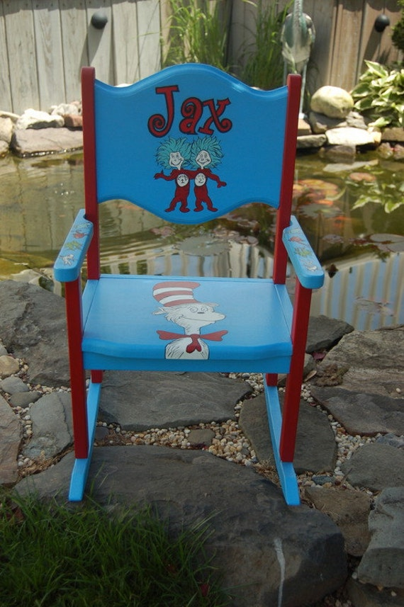 Items Similar To Cat In The Hat Handpainted Rocking Chair