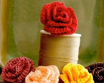Crochet Flower PATTERN Rose Flower PDF beautiful appliqué