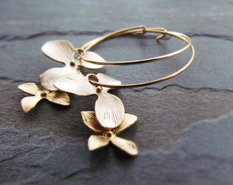 LUCIA-Double Golden Orchid Dangle Hoop Earrings