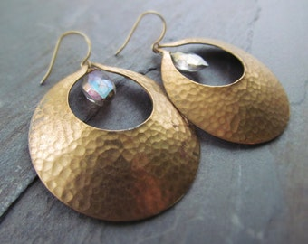 SEVILLA--Vintage Hammered Brass Medallion Earrings with Mystic Marquise Quartz