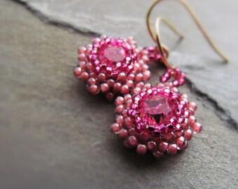 ROSIE-Pink Swarovski Crystal with Pink Seed Bead Drop Earrings