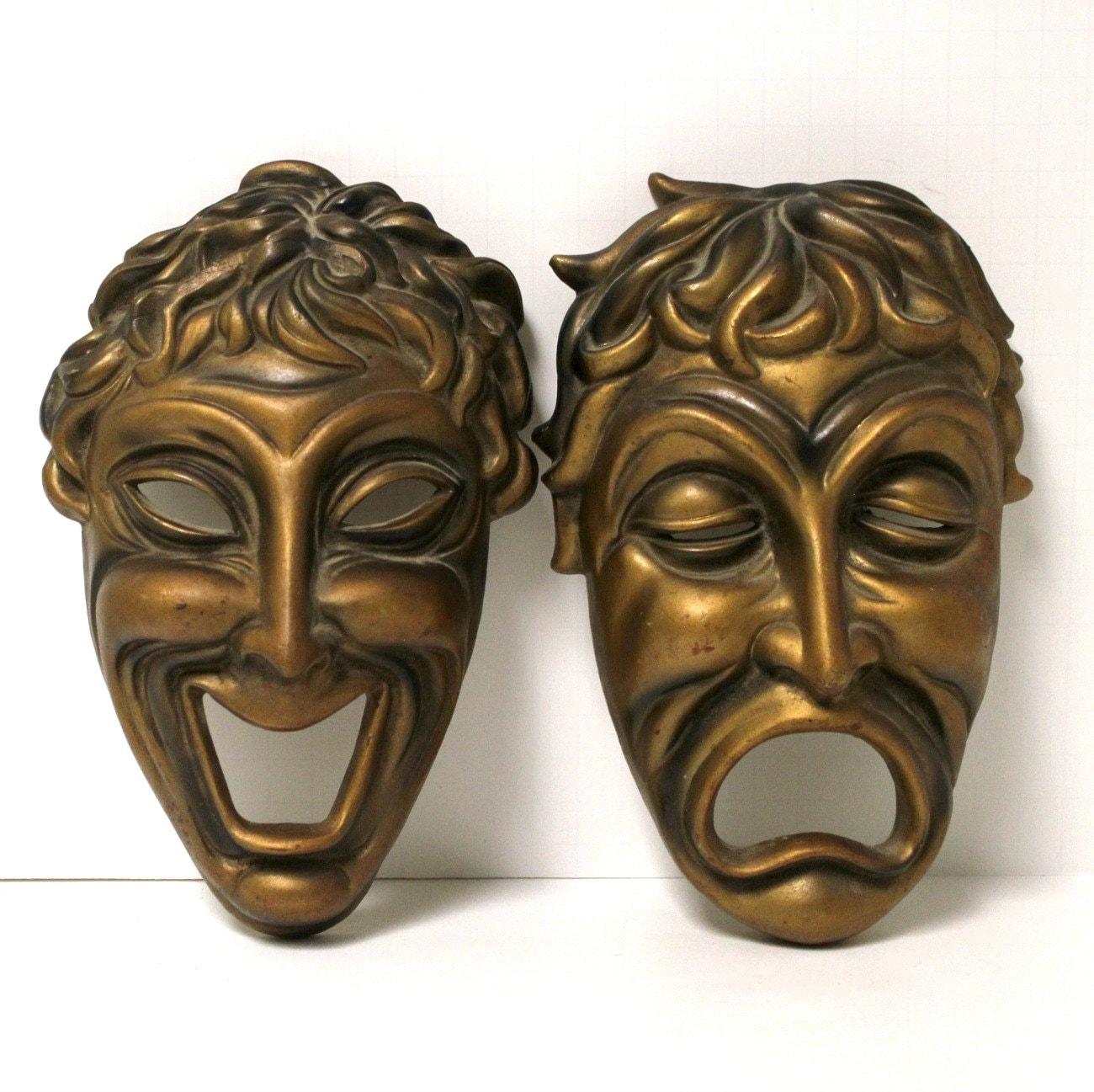 Vintage Comedy Tragedy Masks Faces Gold Hollywood Regency