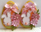 Sweet Easter Embellishments- White Easter Bunnies -