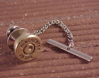 Bullet Tie Tack Winchester 38 Special Brass Shell Recycled Repurposed