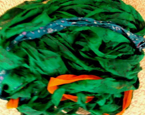 Recycled Sari Silk Ribbon Yarn Soft Chiffon Emerald Green 51 grams