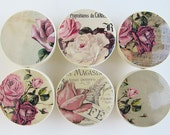 Romantic Vintage Rose Knobs, Music Notes, Floral, Pink, Creamy White Beige- Wood Knobs- 1 1/2 Inches -Made-to-Order